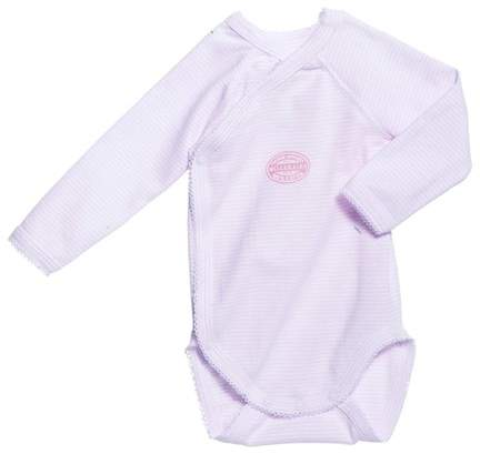 Newborn baby girl long-sleeve bodysuit in milleraies stripe