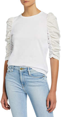 See by Chloe Crewneck Ruched 3/4-Sleeve T-Shirt