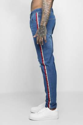 boohoo Skinny Fit Distressed Side Tape Jeans