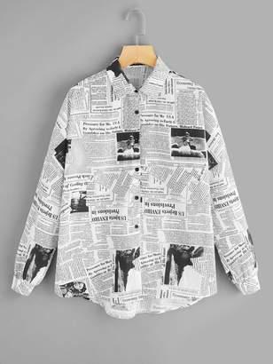 Shein Newspaper Print Curved Hem Buttoned Shirt