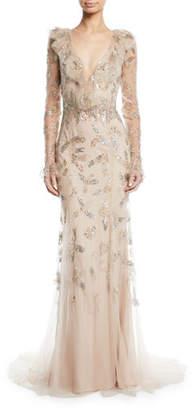 Monique Lhuillier Long-Sleeve Deep V-Neck Gown