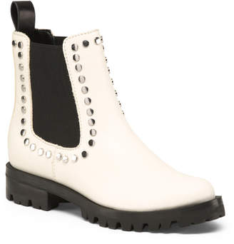 Dolce Vita Studded Lug Sole Chelsea Leather Boots