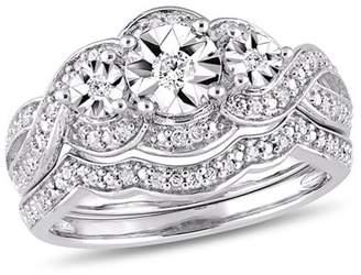 Miabella 1/4 Carat T.W. Diamond Sterling Silver Three-Stone Bridal Set