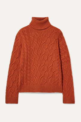 Loro Piana Cable-knit Cashmere Turtleneck Sweater - Bright orange
