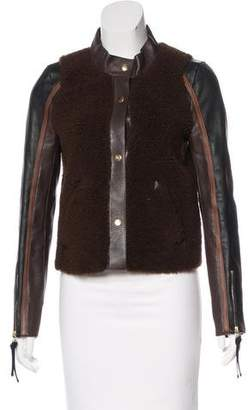 Marni Leather Shearling-Accented Jacket