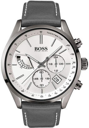 HUGO BOSS BOSS Men's Chronograph Grand Prix Gray Leather Strap Watch 44mm