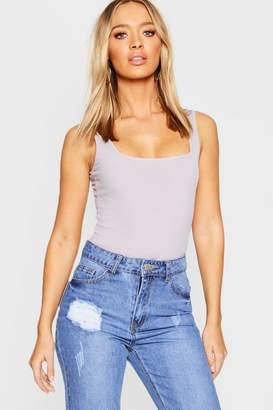 boohoo Rib Square Neck Bodysuit