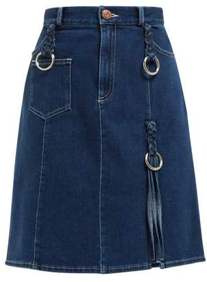 See by Chloe Braided Stretch Denim Mini Skirt - Womens - Blue