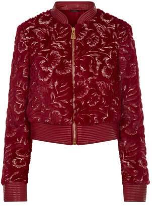 La Perla Daily Looks Burgundy Embroidered Eco Fur And Leather Bomber Jacket