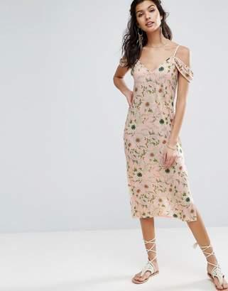 Asos Design Midi Sundress With Cold Shoulder In Floral Print