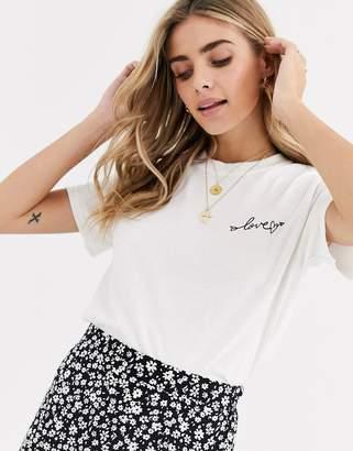 Miss Selfridge t-shirt with slogan in white