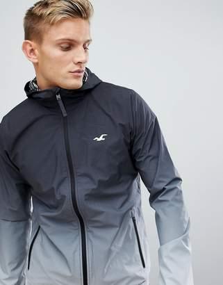 Hollister hooded lightweight jacket dip dye effect seagull logo in black ombre