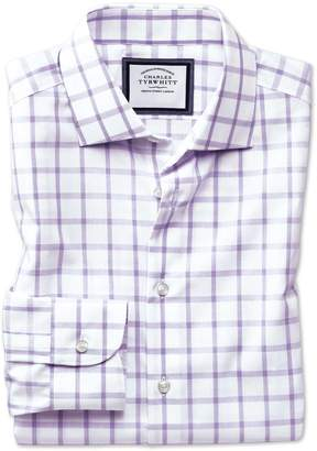 Charles Tyrwhitt Slim Fit Semi-Spread Collar Non-Iron Business Casual Purple Check Cotton Dress Shirt Single Cuff Size 16/35
