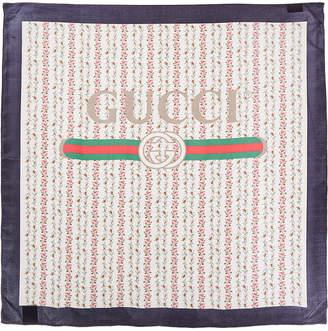 Gucci Rose Series Logo Silk Scarf