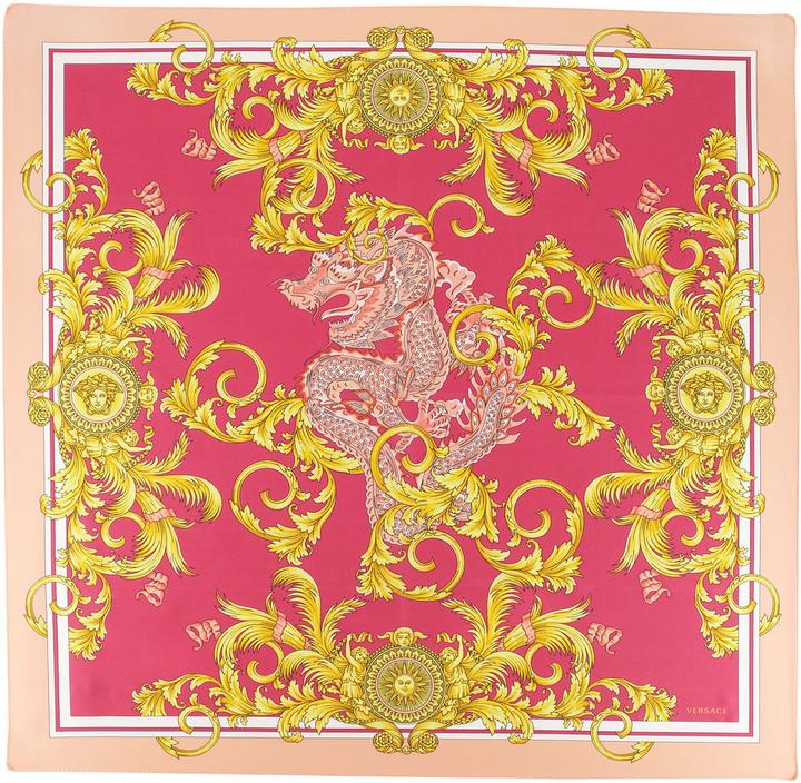 Versace Dragon-Print Silk Scarf, Peach/Pink/Gold