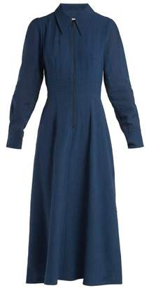 Cefinn - Zip Front Voile Dress - Womens - Blue