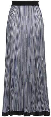 Sonia Rykiel Satin-Trimmed Striped Knitted Maxi Skirt