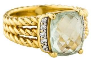 David Yurman 18K Prasiolite & Diamond Petite Wheaton Ring