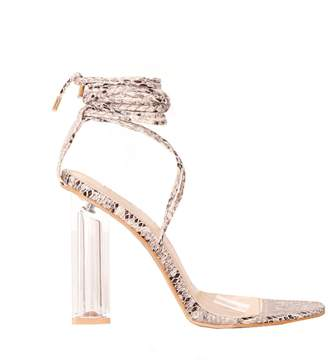 6552bb65339 Missy Empire Missyempire Tillie Snake Print Lace Up Perspex Heels