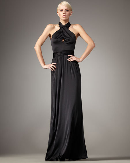 Halston Heritage Twisted Halter Gown