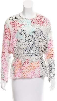 Tanya Taylor Printed Silk Long Sleeve Top