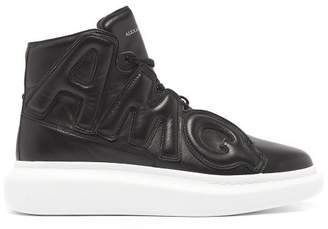 Alexander McQueen Raised Sole Appliqued High Top Leather Trainers - Mens - Black