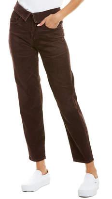 Atelier Jean Red Dark Fold-Over Waist Straight Leg