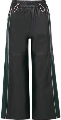 Mira Mikati Cropped Leather Wide-leg Pants - Navy