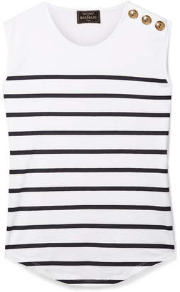 Balmain Button-embellished Striped Cotton-jersey Top