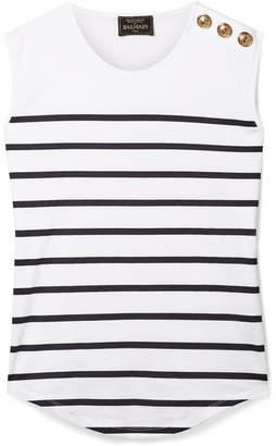 Balmain Button-embellished Striped Cotton-jersey Top - White