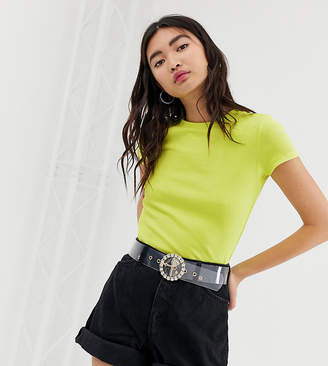Monki crew neck ribbed t-shirt in lime green