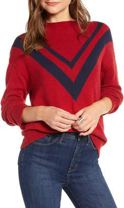 Treasure & Bond Contrast V-Stripe Funnel Neck Sweater