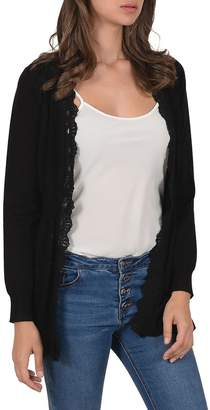 Molly Bracken Lace-Trimmed Open-Front Cardigan