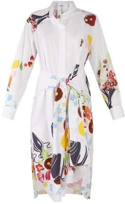 Loewe - Floral And Fruit Print Tie Waist Cotton Shirtdress - Womens - White Multi