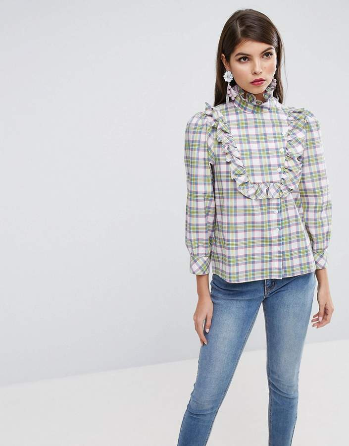 Asos ASOS Check Shirt with Ruffle Bib Detail