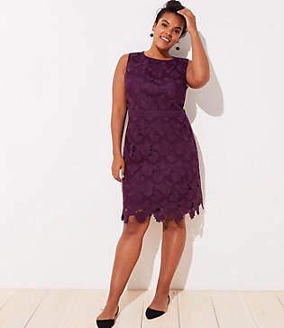 LOFT Plus Floral Scalloped Lace Dress