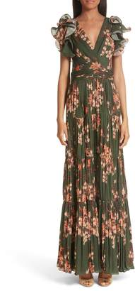 Johanna Ortiz Ruffle Sleeve Tiered Silk Gown