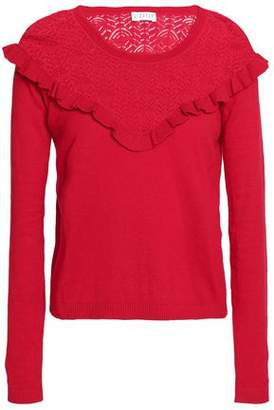 Claudie Pierlot Ruffle-Trimmed Pointelle-Knit Cotton Silk And Cashmere-Blend Top