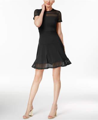 MICHAEL Michael Kors Lace Mesh Fit & Flare Dress $98 thestylecure.com