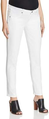 PAIGE Skyline Skinny Ankle Maternity Jeans in Optic White $199 thestylecure.com
