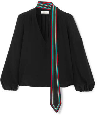 RIXO London - Kate Striped Silk Crepe De Chine Blouse - Black