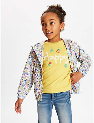 John Lewis & Partners Girls' Ditsy Floral Bomber Jacket, Multi/Pink