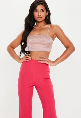 Missguided Pink Satin Cupped Bralet
