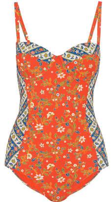 Batik Floral-print Underwired Swimsuit - Papaya