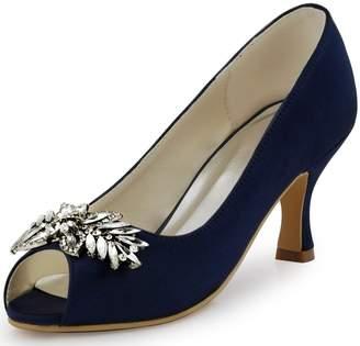 Elegantpark HP1540 Women Pumps Mid Heel Rhinestones Peep Toe Shoe-Clips Satin Evening Party Shoes US 8