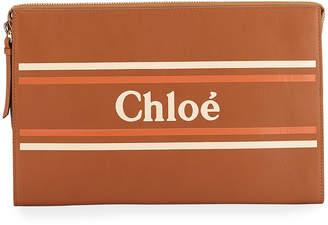 Chloé Large Zip Logo Clutch Bag