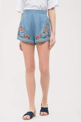 Blu Pepper Chambray Embroidered Shorts