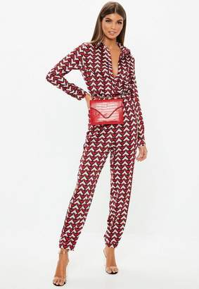 Missguided Red Geometric Printed Utility Romper