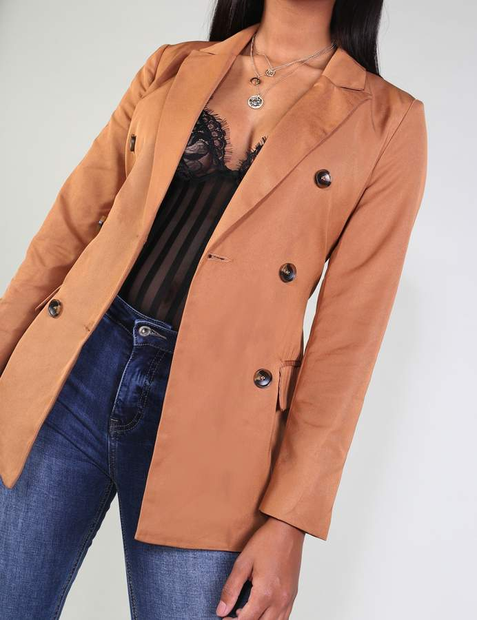 Horn Button Belted Tailored Jacket
