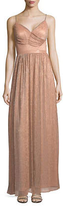 Laundry by Shelli Segal Metallic Pleated Gown